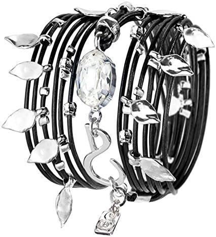 SEA Smadar Ivy Black Leather Wrap Bracelet Necklace with Clear Swarovski Crystal 925 Silver product image