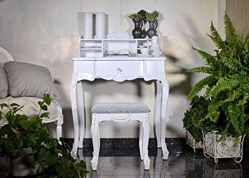 Antyki24 Secretario cajón Escritorio tocador Shabby Chic Antiguo Estilo francés Color Blanco