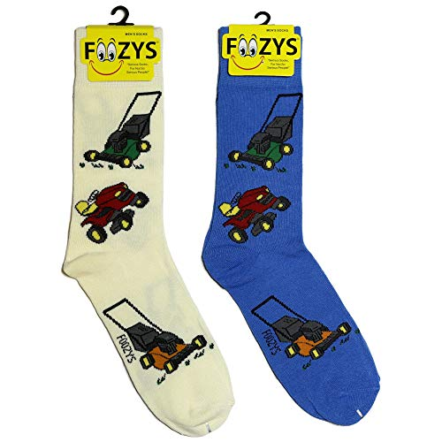 Foozys Men's Lawn Mower Working Man Novelty Crew Socks | 2 Pair