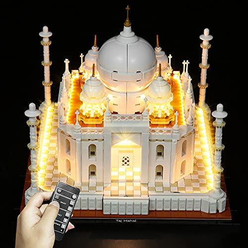 QXQY Fernbedienung Led Licht Set für Lego 21056 Taj Mahal,LED Beleuchtung Lichtset Kit Kompatibel Mit Lego 21056 (NUR Licht Set) (Mit Fernbedienung)