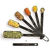 2lbDepot Black Measuring Spoons Set of 7 Includes Bonus Leveler, Premium, Rust Proof, Heavy Duty, Black Plated, Stainless Steel Metal, Narrow, Long Handle Design fits into Spice Jars