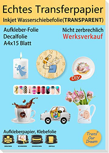 TransOurDream ECHTE Inkjet Wasserschiebefolie Inkjet Wasser Decal Transferfolie(TRANSPARENT), A4X15 Blatt, für DIY Kerzen,Spielzeugmodelle,Nagelkunst,Tassen(Trans-6-15)