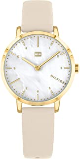 Tommy Hilfiger 1782038 Womens Quartz Watch, Analog Display and Leather Strap, White