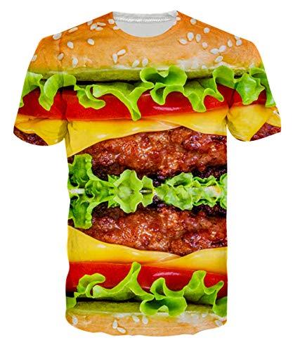 Loveternal Mens Hamburger T-Shirts Funny Junkfood Tees Guy 3D Graphic Print Tees Crew Neck Humorous Surf T Shirts Theme Party Novelty Lettuce Short Sleeve T Shirt S