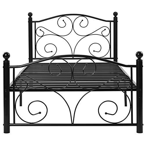æ - Marco de cama individual de metal de 3 pies, cama de metal con cabecera fuerte, estribo y gran espacio de almacenamiento para dormitorio, habitación de niños para niños, adultos huéspedes negro