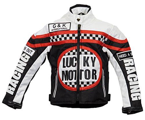 MDM Kinder Bikerjacke in schwarz/weiß, Motorradjacke, Racing Jacke (L)