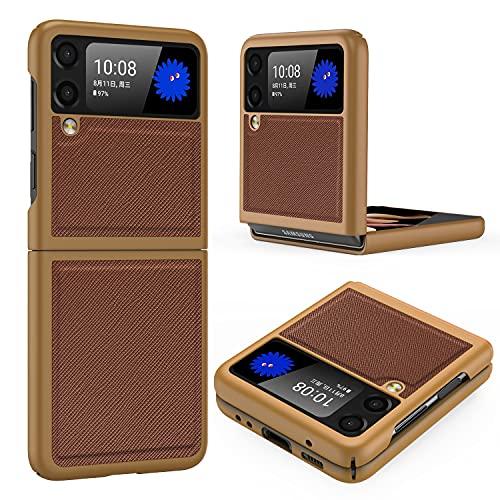 Vizvera Galaxy Z Flip 3 5G Schutzhülle, Samsung Galaxy Z Flip 3 PU Leder Hülle Harte PC Schale Superdünne Strapazierfähige Schutzhülle Handy Schutzhülle Passend Samsung Galaxy Z Flip 3 5G 2021-Braun