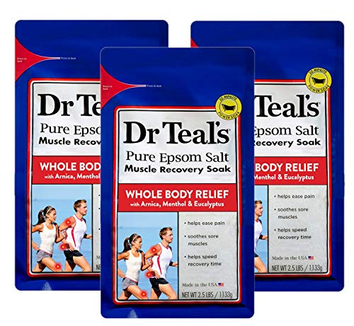 Dr. Teal s Epsom Salt - Muscle Recovery Soak - Whole Body Relief with Arnica, Menthol, Eucalyptus - 2.5lb Bag (Pack of 3)