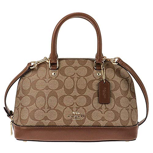 Coach Signature Mini Sierra Crossbody Satchel Khaki Saddle