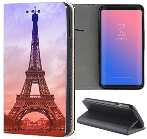 Huawei P8 Lite 2015 Hülle Premium Smart Einseitig Flipcover Hülle P8 Lite 2015 Flip Hülle Handyhülle Huawei P8 Lite 2015 Motiv (1089 Eifelturm Paris Frankreich Blau Braun)