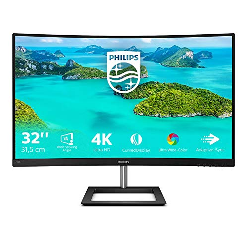 Philips 328E1CA - 32 Zoll UHD Curved Gaming Monitor, 60 Hz, 4ms, AdaptiveSync (3840x2160, HDMI 2.0, DisplayPort) schwarz