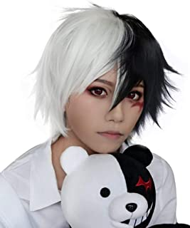 ANOGOL Wig Cap+ Multi-Color Wigs Short Straight Cosplay Wig White and Black Synthetic Wigs for Movie