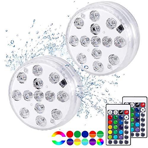 Unterwasser Licht, 2 Stück Led Unterwasserleuchten 13 LED RGB Multi Farbwechsel Wasserdichte LED Leuchten mit Fernbedienung, Led Beleuchtung für Blumen Aquarium Schwimmbad Halloween Weihnachten