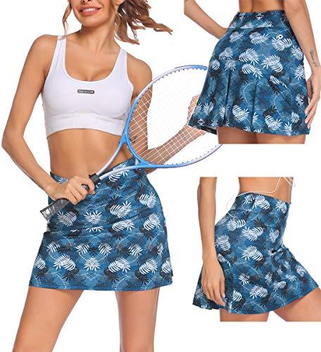 Tennisrock Damen Rock Kurz Yoga Skort mit Innenhose Taschen Sportrock für Frauen Mädchen Golf Sport Blau S