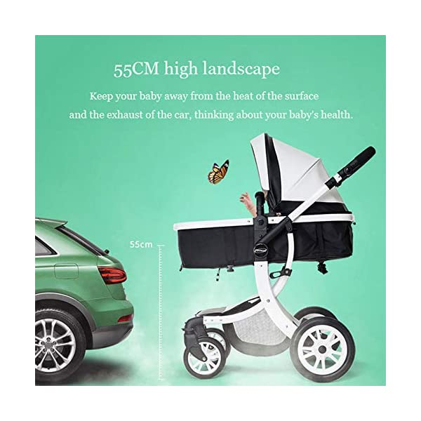 JXCC Baby Stroller Ultra Light Folding Child Shock Absorber Trolley Can Sit Half Lying 0-3 years old,15kg maximum -Safe And Stylish B JXCC 1. {All seasons} - Three-sided mesh design, the awning can be adjusted at multiple angles to easily cope with the sun 2. {55CM high landscape} - Baby can stay away from hot air surface, car exhaust, for baby's health 3. {3D Stereo Vibration} - X-frame design, evenly dispersing the upper weight, front wheel built-in suspension, rear wheel frame suspension 5