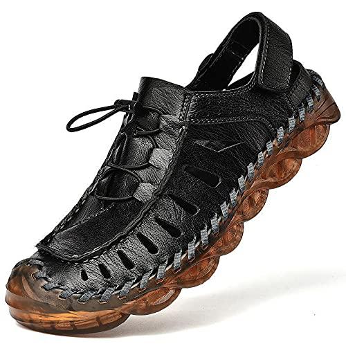 KJHKT Sandalias de cuero para hombre, sandalias deportivas, pescador, puntera cerrada, zapatos acuáticos, deportes, senderismo, para verano, playa, sandalias ajustables