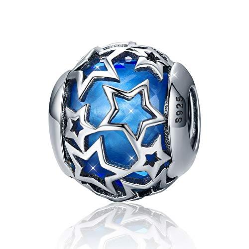 Abalorio de plata de ley 925 con diseño de estrella de cristal rojo para pulseras de abalorios (azul oscuro)
