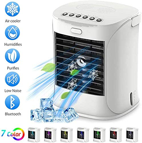 Horizoncn 5 en 1 Aire Acondicionado, Portátil Air Mini Cooler Enfriador De Aire Silencioso Climatizador Evaporativo Ventilador Purificador Humidificador 7 Leds, 3 Velocidades
