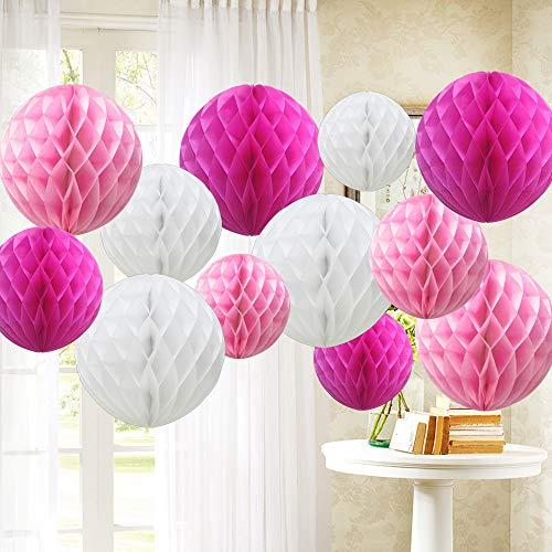 time to Sparkle 12 Piezas Pompones de Papel decoración Bola de Nido Plegables Flores Decoracion Cumpleaños/Boda/Nacimiento/Navidad, Balls-Pink Shade