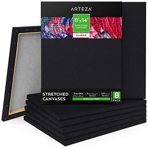 Arteza Leinwand Keilrahmen schwarz, 27.9x35.6cm, 8 bespannte schwarze Keilrahmen grundiert, 100% Baumwolle, Canvas für Malerei, Acrylgießen, Ölfarben & nasse Kunstmedien, Leinwände für Profis & Hobby