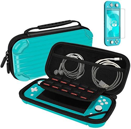 Estojo de transporte para Nintendo Switch Lite portátil capa protetora de viagem com 10 compartimentos para jogos e película de vidro temperado, Turquoise Blue