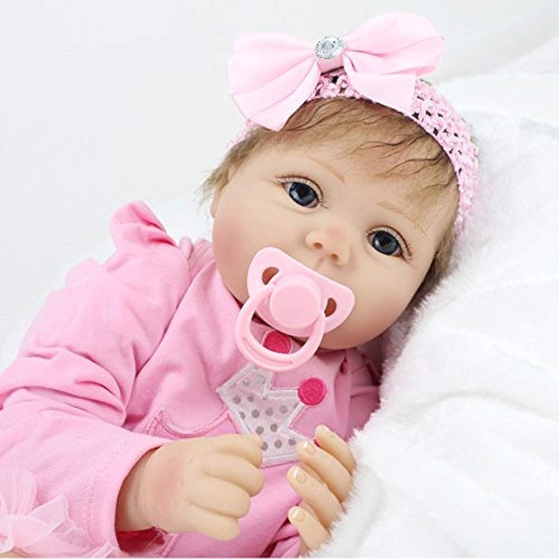 SYP 22 inch 55cm Realistic Newborn Reborn Baby girls Soft Silicone Vinyl Dolls toddlers toys Big eyes Handmade Magnet Pacifier