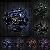 wszhh Vintage Car Guitar 80s Retro Gramophone Record Reloj de Pared Country Rock Álbum Disco de Vinilo Reloj de Pared Música Obra de Arte-con LED