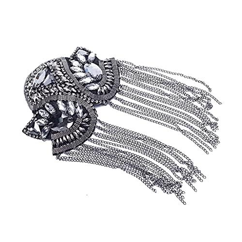 GYZX Cadena de Borla Hecha a Mano Insignias de Hombros Perlas Parches Epaulet Epaulette Vintage Ropa Decoración Accesorios de Costura