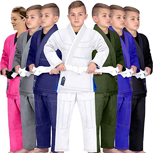 Elite Sports Kids BJJ GI, GIS for Youth Jiu Jitsu IBJJF Children's Lightweight Brazilian Jiujitsu Kimono W/Preshrunk Fabric & Free Belt (White, C2)