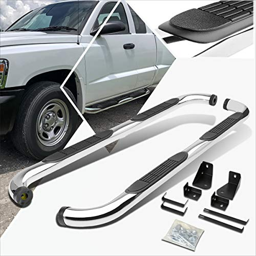 3 Inches Chrome Running Board Side Step Nerf Bar Compatible with Dodge Dakota Crew/Quad Cab 05-11