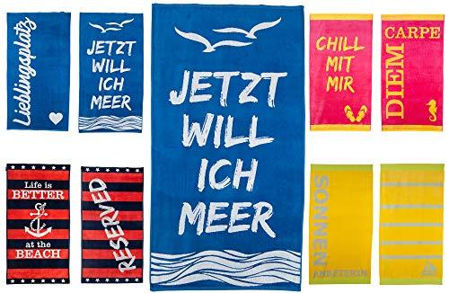 Strandtuch 90x170 cm Badetuch Strandlaken Handtuch 100% Baumwolle Velours Frottier Pflegeleicht (blau - Ich Will Meer)