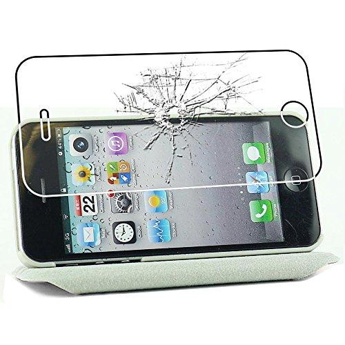ebestStar - Funda Compatible con iPhone SE 5S 5 Carcasa Cuero PU, Giratoria 360 Grados, Función de Soporte, Blanco + Cristal Templado Protector Pantalla [Aparato: 123.8 x 58.6 x 7.6mm, 4.0'']