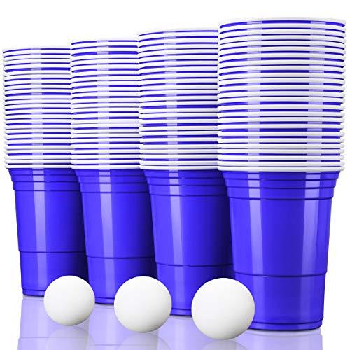 TRESKO 50 Beer Pong Becher + 6 Bälle | Partybecher 473ml - 16oz | Bierpong, Red Cups extra stark | Plastikbecher Blau