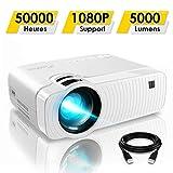 Mini Vidéoprojecteur, ELEPHAS 5000 Lumens Projecteur Portable Soutien 1080P Rétroprojecteur Compatible USB/HD/SD/AV/VGA pour Home Cinéma, Durée de Vie Jusqu'à 50000 Heures, Blanc