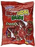 Bon Bon Bum Bubble Gum Bolsa Fresa - Paquete de 24 Unidades