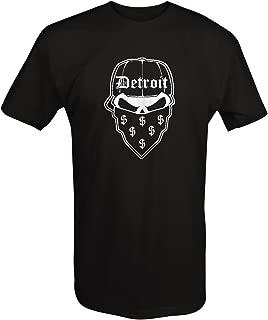 Lifestyle Graphix Gangster Detroit Skull Bandana Money Music Hat Dollar Sign T Shirt for Men