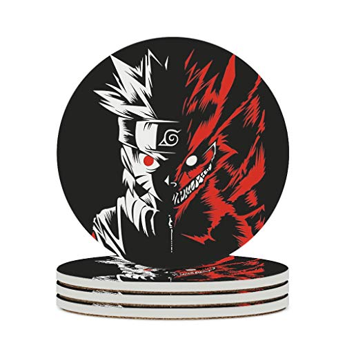 keqing Ceramic Coasters Round Uzumaki Naruto and Nine-Tailed Fox Pattern with Cork Base 3D Printing Ceramic PlaceMats Prevent Furniture for Drinks Dirty 3.9 inch Diameter Stone Style White 4pcs