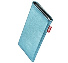 Fine suit fabric pouch case cover with MicroFibre lining for display cleaning fitBAG Twist Gray custom tailored sleeve for Huawei Mate Xs Made in Germany