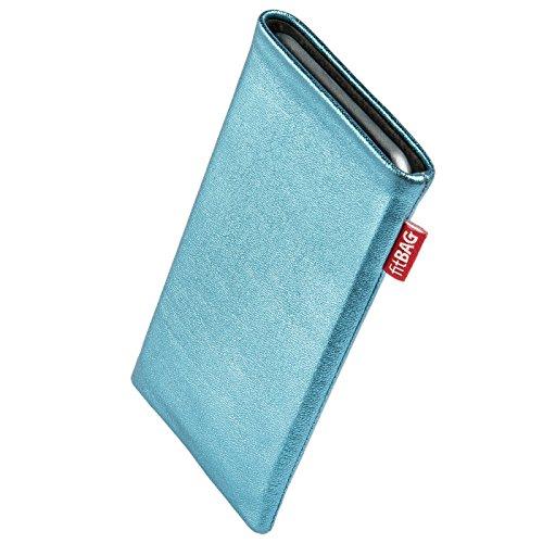 fitBAG Groove Türkis Handytasche Tasche aus feinem Folienleder Echtleder mit Microfaserinnenfutter für Wileyfox Swift 2 Plus | Hülle mit Reinigungsfunktion | Made in Germany