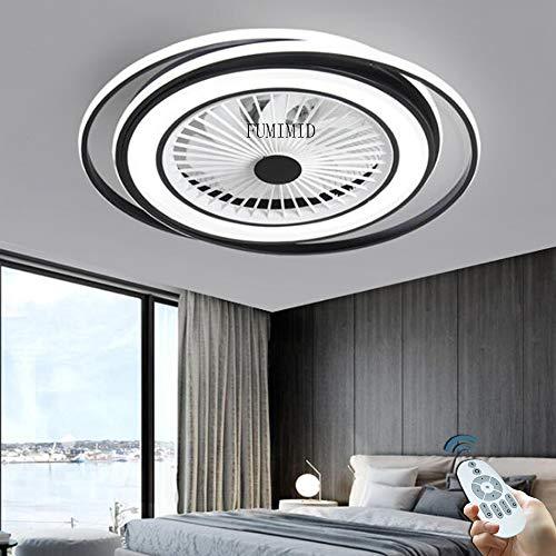 Ventiladores De Techo Con Luz Regulable LED Negros Modernos Con Iluminación Lámpara De Techo Con Ventilador Silencioso Ajustable 3 Velocidades De Viento Dormitorio Sala De Estar Comedor Oficina,A