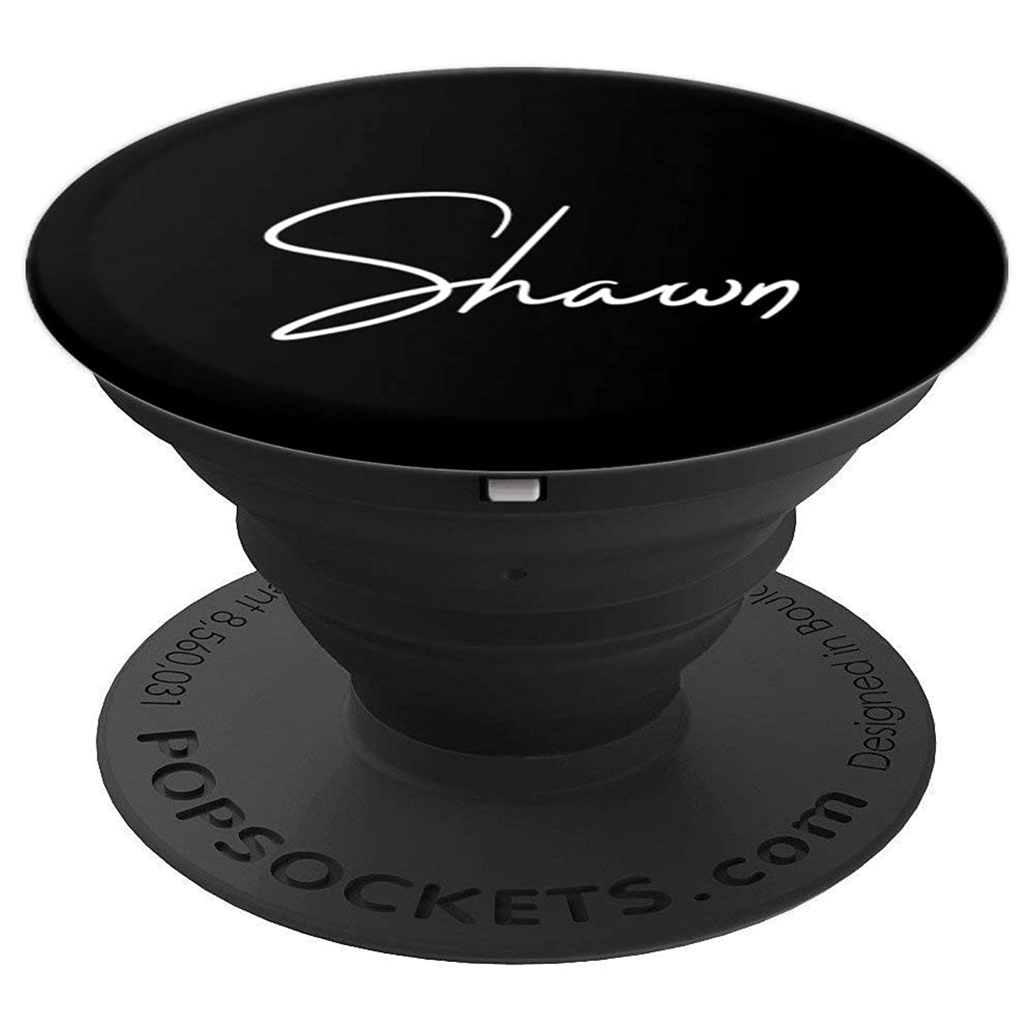 Shawn Name White on Black - Shawn - PopSockets Grip and Stand for Phones and Tablets