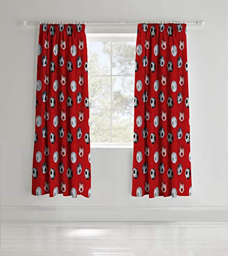 Catherine Lansfield Football Curtain Set in Red