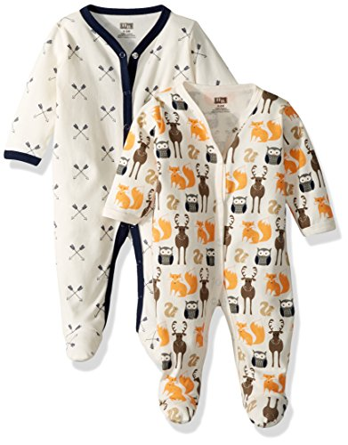 Hudson Baby Baby Cotton Sleep and Play, Cream Forest, 6-9 Months