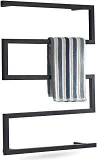 Electric Towel Warmer, Wall Mounted Stainless Steel Heated Towel Rail, Black Square Bars, Hardwired or Plug in Option, for Bathroom Kitchen Hotel, 797 x 601mm