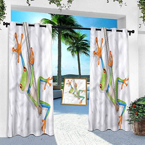 Aishare Store - Cortinas de cortina para exteriores, diseño de rana pequeña en columpio, 254 x 241 cm, impermeables al aire libre, cortinas de casa de campo para cubierta trasera, Lanai/porche, cabaña de piscina (1 panel)