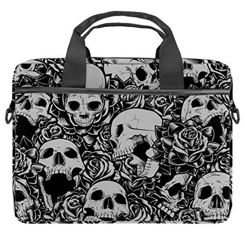 Laptop Tote Bag Computer Rucksack Compatible with Chromebook, MacBook Pro Black White Skull Rose Rock Pattern