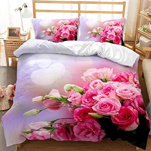 LIANHUAA Juego de ropa de cama 3D con rosas rojas, funda nórdica de 200 x 200 cm, juego de cama con estampado floral, funda de edredón y fundas de almohada (3,135 x 200 cm)