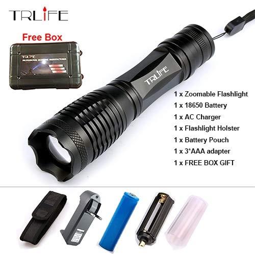 Blanc, Fédération de Russie : 8000 lm lampe de poche Zoomable/réglable lampe LED CREE XM-L T6 L2 lampe de camping Lanterna + batterie 18650 + Chargeur gratuit GIF