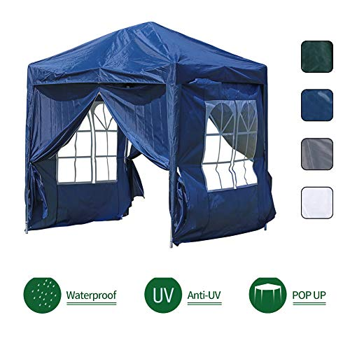 OFCASA 2M x 2M Garden Gazebo with Side Panels Powder Coated Steel Frame Waterproof Event Shelter Tent for Outdoor Wedding Garden Party Camping,Blue