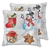 Juego de 2 fundas de almohada cuadradas decorativas de Navidad, 20 x 20 pulgadas, acuarela, iconos de Navidad, para sofá, dormitorio, coche, decoración navideña.